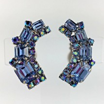 Vintage Weiss Earrings Statement Blue AB Rhinestone Clip Art Deco Signed... - $58.88