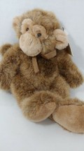 Russ Berrie Plush Heartcraft collection brown furry Monkey ribbon bow w/... - $9.89