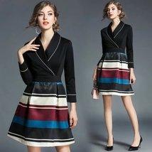 Spring women's temperament V collar seven-point striped print Slim A-line dress - $53.00
