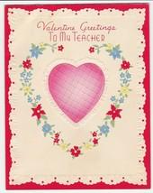 Vintage Valentine Card Pink Heart Flowers Teacher 1942 DA Embossed - $6.92