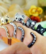 Womens Kitty Cat Ring Swarovski Crystals Adjustable Free Size Wrap Ring ... - $9.50