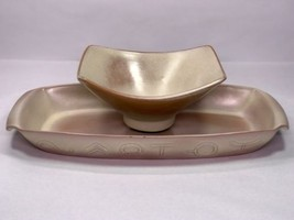 Vintage Frankoma Pottery Set ~ 94Q Serving Tray & F34 Rice Bowl in Deser... - $60.75