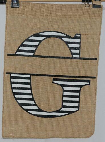 Kate Winslet Brand Brown Burlap Monogram Black White G Garden Flag