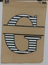 Kate Winslet Brand Brown Burlap Monogram Black White G Garden Flag image 1