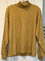 Vtg International Male Metallic Gold Turtleneck Sweater Mens S Shimmer L... - $37.39