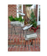 2 new large Reindeer Distressed Wood/ Tin standing planters - $139.99