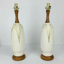 "Vtg Mid Century Art Deco Tall Table Lamp White Gold Chalkware Wood 25"" - $75.74"