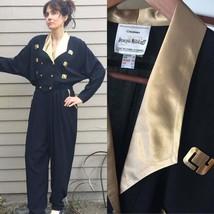Vtg Joseph Ribkoff Jumpsuit Sz L 14 gold black Dynasty 80's 90's Vintage... - $136.62