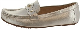 Isaac Mizrahi Leather Moccasins Faux Pearls Pale Gold 7.5W NEW A307737 - $29.68