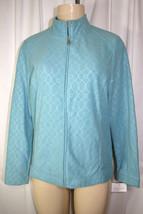 New Croft & Barrow Seafoam Green Embossed Long Sleeve Full Zip Fleece Ja... - $34.64