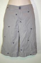 MERONA Sz 2 Gray Embroidered Crabs Walking Knee Shorts 100% Cotton - $7.59