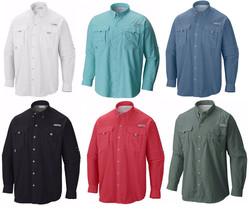 New Columbia Men's Pfg Bahama Ii Long Sleeve Fishing Shirts, XS-S-M-L-XL-2XL - $38.50