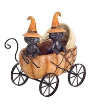 Melrose Halloween Black Cats with Witches Hats in Pumpkin Carriage Figurine Stat