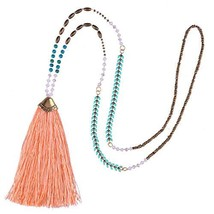 KELITCH Synthetic Turquoise Crystal Beads Strand Necklace Tassel Layerin... - $14.10
