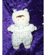 Carters plush doll white outfit pink purple flowers brunette brown hair hat - $34.59
