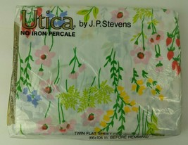 Vintage NIP Utica JP Stevens Twin Flat Sheet Percale Happy Flowers - $24.75