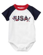 GYMBOREE NWT Baby Boy Newborn Red White & Cute Bodysuit 0-3 Mos 4th July... - $6.92