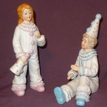"Circus Clowns Boy Girl Party Ceramic Figurines Pink Blue White 7"" - $21.00"