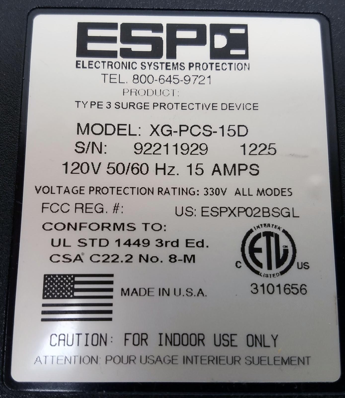 ESP RICOH Surge Protector/Power Monitor – XG-PCS-15D - 120 Volt, 15 Amp Bin:4