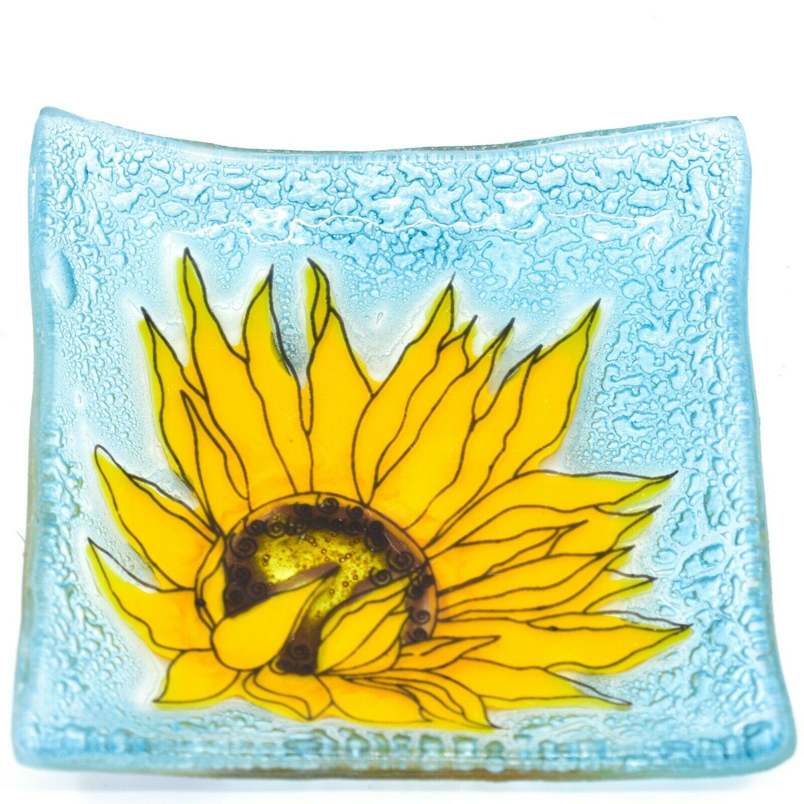 Fused Art Glass Yellow Sunflower Flower Design Square Soap Dish Handmade Ecuador