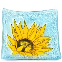 Fused Art Glass Yellow Sunflower Flower Design Square Soap Dish Handmade Ecuador image 1