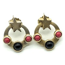 G N Buonanna Earrings Modernist Goldtone Black and Red Stones Pierced St... - $9.90