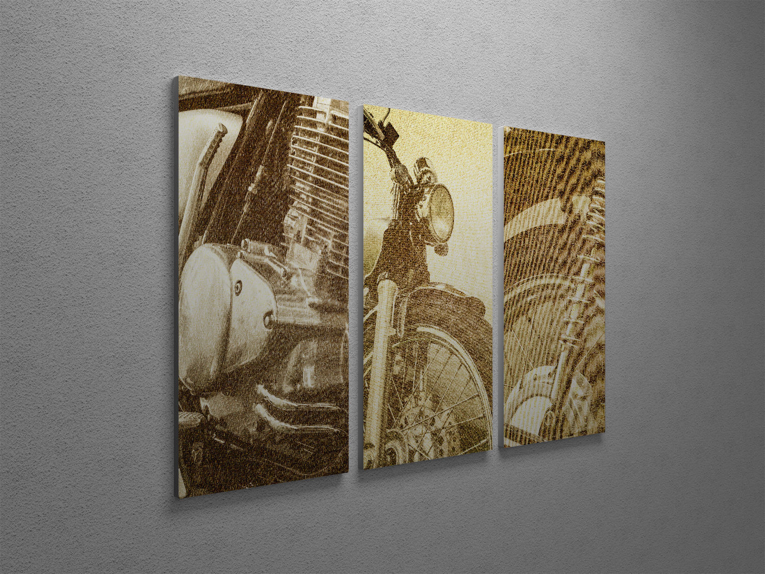 "Primary image for Classic Motorcycle Collage Pop Art Canvas Triptych Print 48""x30"""