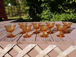 "Vintage Set of 8 Fostoria Glass Jamestown Amber 4 1/4"" Champagne Tall Sh... - $52.00"