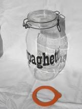 "Vint Triomphe France 2L ""spaghetti"" Glass Jar Canister w/Hinged Metal Ba... - $9.99"