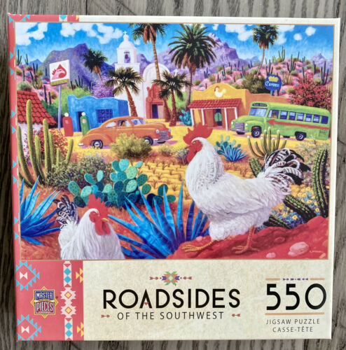 "Masterpieces Roadsides of the Southwest ""Gallos Blancos"" 550 piece Jigsaw Puzzle - $8.59"