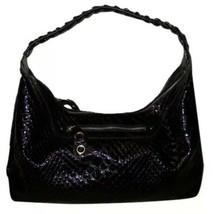 Jessica Simpson Croc Embossed Patent Leather Hobo Shoulder Bag Hand Bag Black - $58.81
