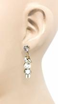 White Bunny Rabbit Enamel Dangle Earrings Clear Rhinestone Animal Lover Jewelry - $11.40