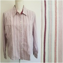 Riders by Lee Womens Size XXL Button Down Shirt White Burgundy Striped Stretch - $17.99