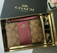 Nwt Coach F80151 Emballé Cornerzip Dragonne Kaki Métallique Vin + 2 Char... - $77.48