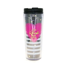 Starbucks Black You & Me Stripe Love Pink Heart Acrylic Cup Tumbler 12oz - $59.39