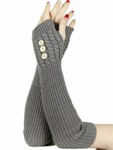 Wholesale Lot 1 PR Grey Button Knit Arm Warmers Winter Gloves - $3.65