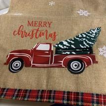 Merry Christmas Red Truck Table Runner Burlap Look Tree Plaid Trim 13x68... - $14.84