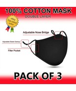 ( 3pcs ) 100% COTTON FACE MASK REUSABLE WASHABLE UNISEX with FREE PM 2.5... - $9.99