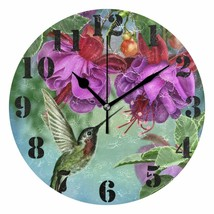 "Nice Wall Clock 9.45"" Colorful Floral Hummingbird Flowers Shabby Chic Fa... - $39.00"