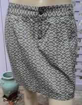 GAP Sage Green/Beige Tribal Geometric Print Short Pleated Cotton Skirt (6) NEW - $14.60