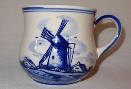 Vintage Blue Windmill Dutch Flower Hand Painted D.A.L.C.Delft Mug Coffee... - $12.89