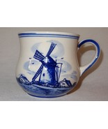 Vintage Blue Windmill Dutch Flower Hand Painted D.A.L.C.Delft Mug Coffee... - $12.89