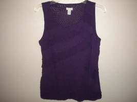Chico's Size 1 (Medium) Sleeveless Purple Lined Front Women Tank Top - $12.87