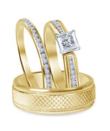 Mens & Womens Wedding Diamond Trio Ring Set 14k Gold Finish 925 Sterling... - £91.87 GBP