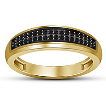 14k Yellow Gold Plated 925 Sterling Silver Black Diamond Gents Anniversary Ring - $84.99