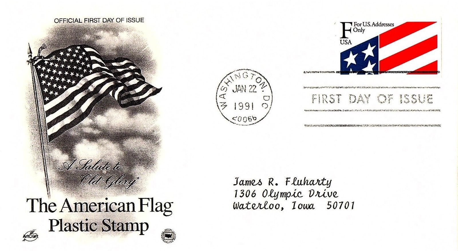 January 22, 1991 First Day of Issue, Postal Society Cover, Flag Plastic Stamp