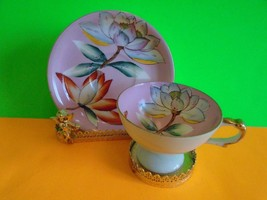 Rare Occupied Japan HandPainted Tea Cup and Saucer Pink Lotus EUC Ship Fast - $15.99