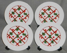 Set (4) BIA Christmas - Holiday CHRISTMAS TREE PATTERN  Salad Plates RED... - $29.69