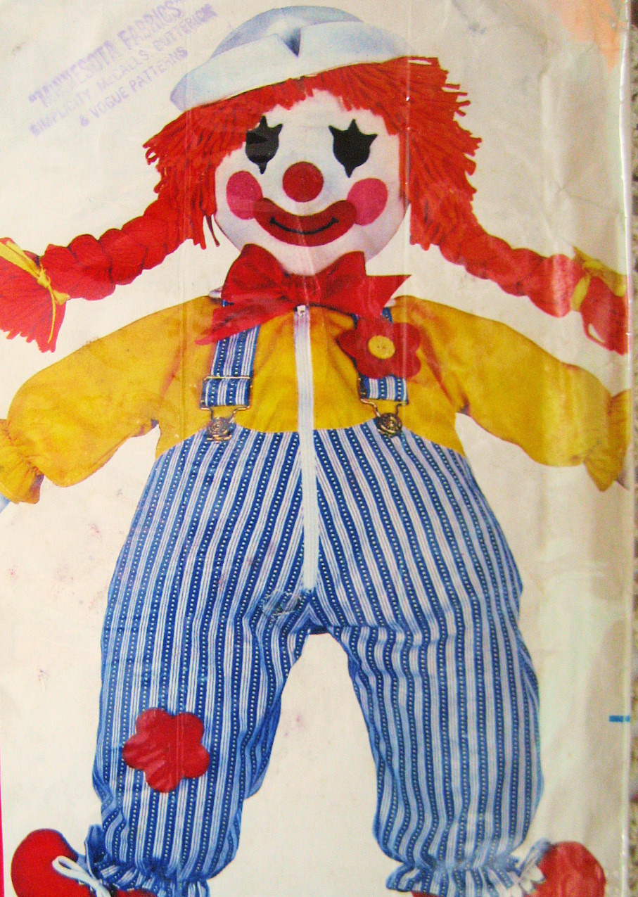 Butterick 205 Vintage Stuffed Doll Clown 24 Inch Used Toy Pattern