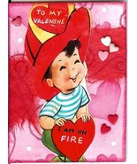 ACEO ATC Art Collage Valentines Day Red Heart Boy Fire Fireman Hat - $5.00